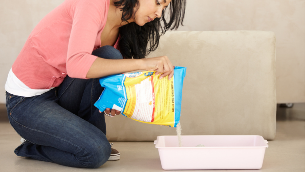 Woman filling litterbox with kitty litter