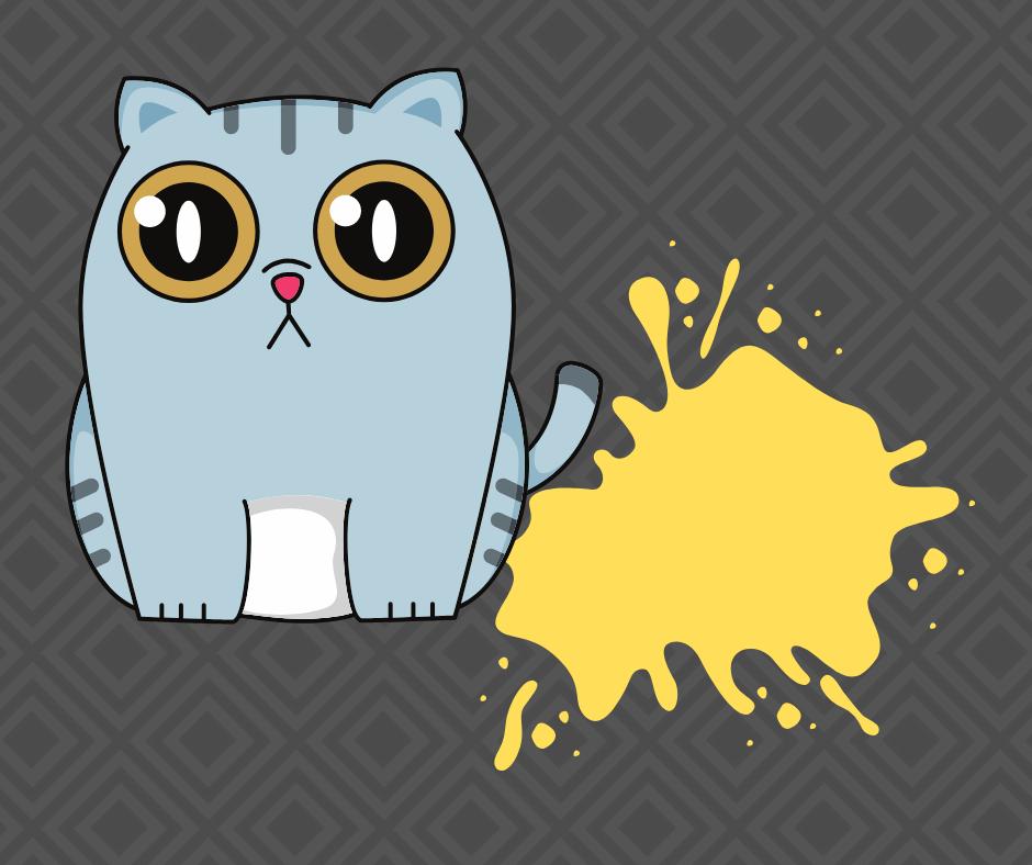 Cartoon cat next to urine puddle